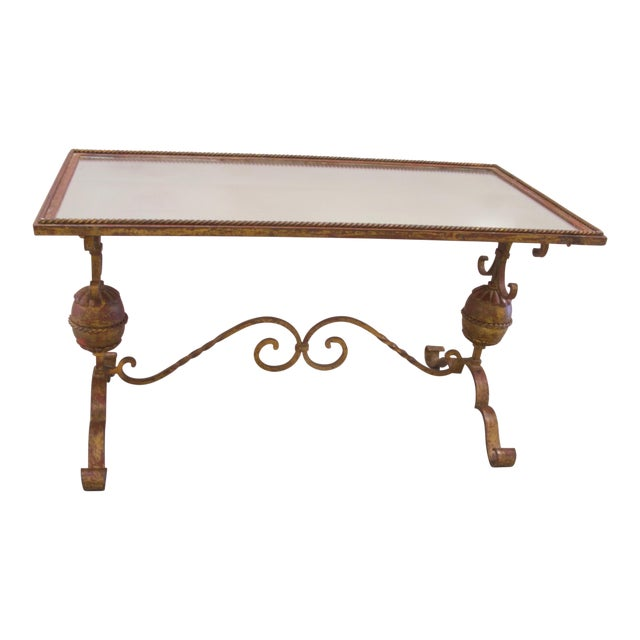 Wrought Iron Mirrored Top Coffee Table For Sale