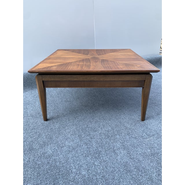 Beautiful Vintage Mid-Century Modern Pinnacle by Drexel Square Walnut Table. Top has been refinished with hand-rubbed Tung...