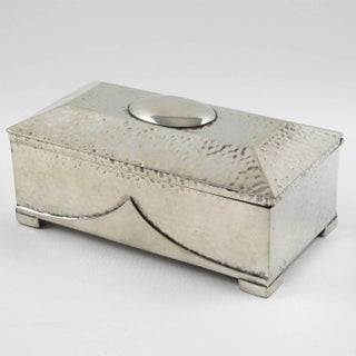 English Sheffield Art Deco Decorative Polished Pewter Box by T. Land & Son Civic Preview