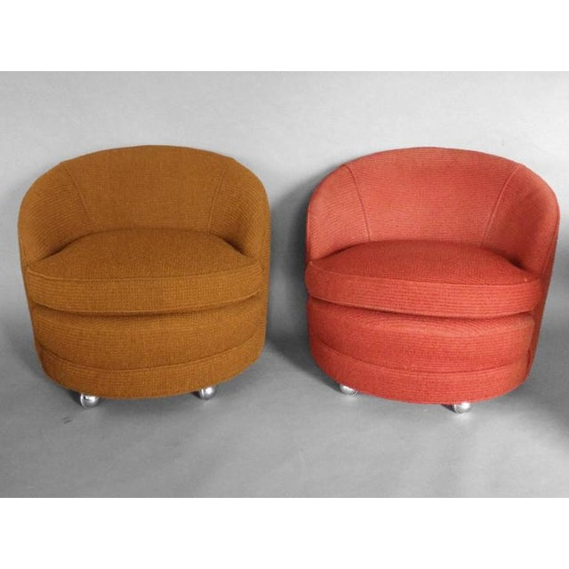 1960s Four as Found Barrel Back Lounge Chairs on Casters For Sale - Image 5 of 6