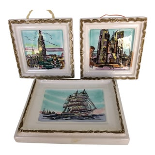 Set of 3 Vintage Miniature Porcelain City and Sail Ship Scenes - Made in Japan For Sale