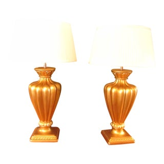 Classic Ceramic Urn Design Gold Lamps With Drum Shades - a Pair For Sale