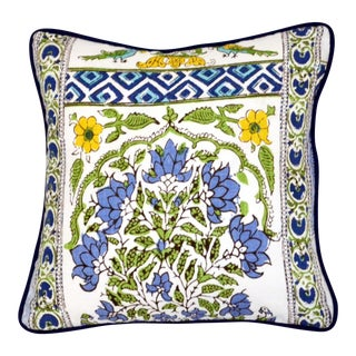 Thibaut Indian Panel Printed Blue and Yellow Cotton Linen Pillow For Sale