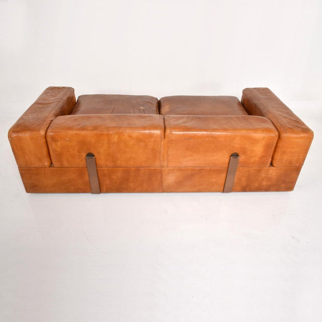 Tito Agnoli Mid Century Modern Italian Leather Sofa Bed For Sale - Image 4 of 11