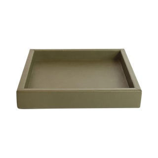 AURA LONDON Olive Leather Tray For Sale