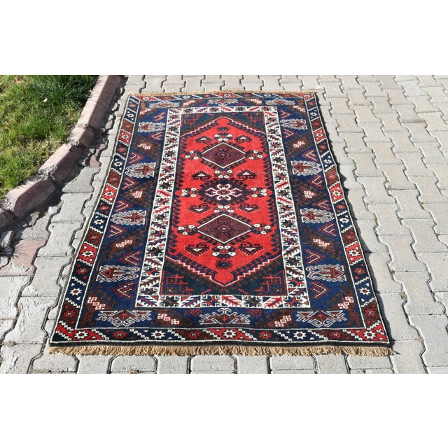 Turkish Oushak Aztec Rug Anatolian Hand Knotted Wool Area Rug Authentic Oriental Rug 4x6 Ft For Sale - Image 10 of 11