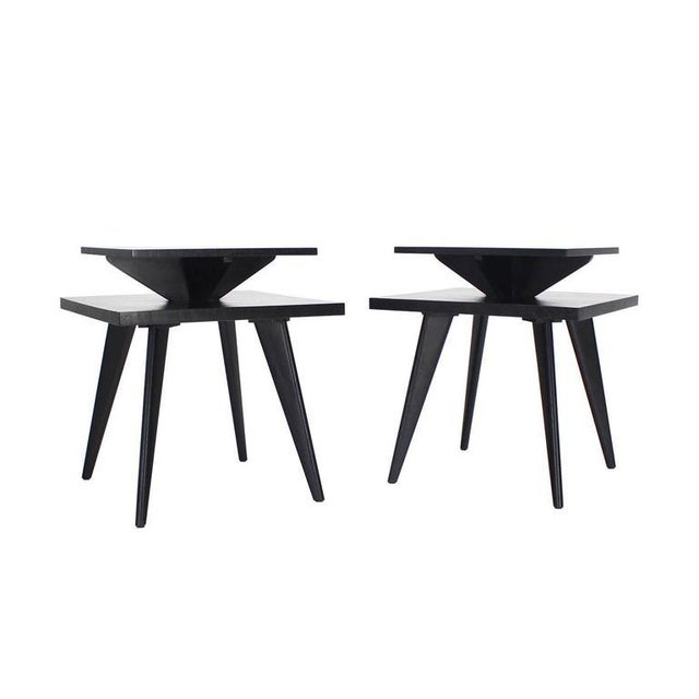 Mid-Century Modern Pair of Black Lacquer Square Step Side Tables on Tapered Legs For Sale - Image 3 of 8