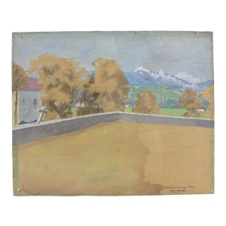 1914's Cemetery of Spain Original Watercolor For Sale