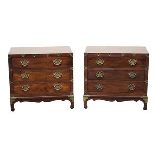 Henredon Pan Asian Japanese Tansu Campaign Style Walnut Nightstand / Bedside Chests - Pair For Sale
