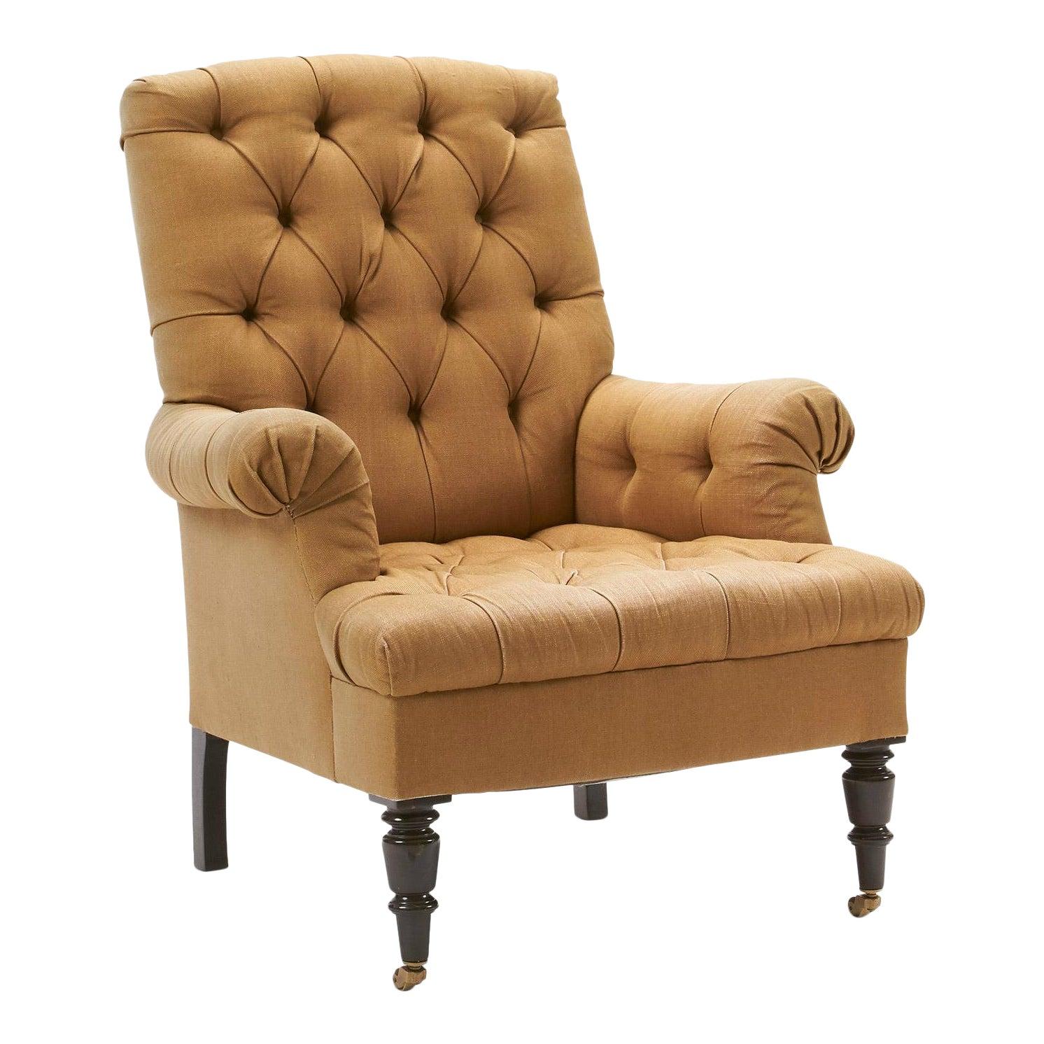 Pleasant Vintage Linen Button Tufted Armchair By Nate Berkus Lamtechconsult Wood Chair Design Ideas Lamtechconsultcom