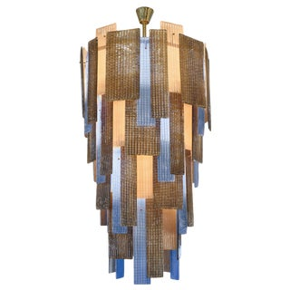 Murano Ridged Glass Multicolor Chandelier For Sale