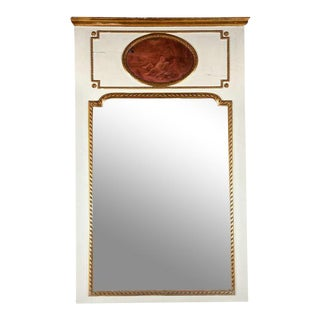 White Painted & Parcel-Gilt French Trumeau Mirror