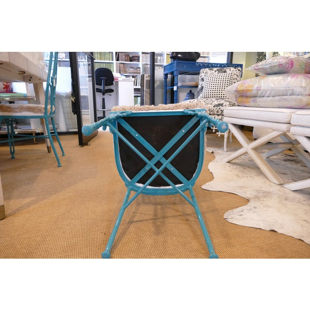 Modern Teal Wrought Iron Outdoor Chair For Sale - Image 11 of 13