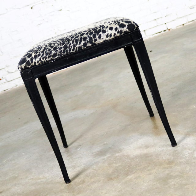 Art Deco Black Art Deco and Animal Print Bench Ottoman Footstool Cast Aluminum by Crucible For Sale - Image 3 of 11