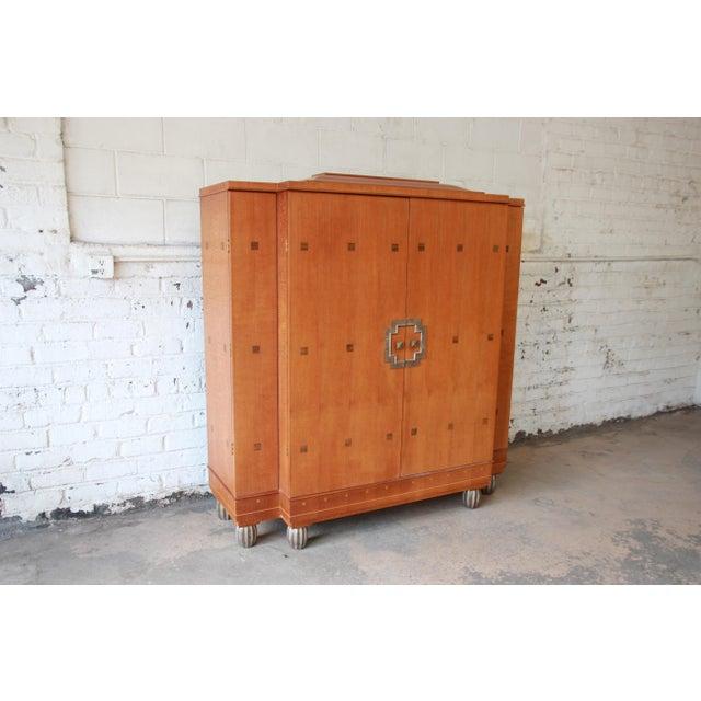 Baker Furniture Art Deco Style Burlwood Armoire - Image 3 of 11