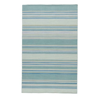 Jaipur Living Kiawah Handmade Stripe Blue & Turquoise Area Rug - 10' X 14' For Sale