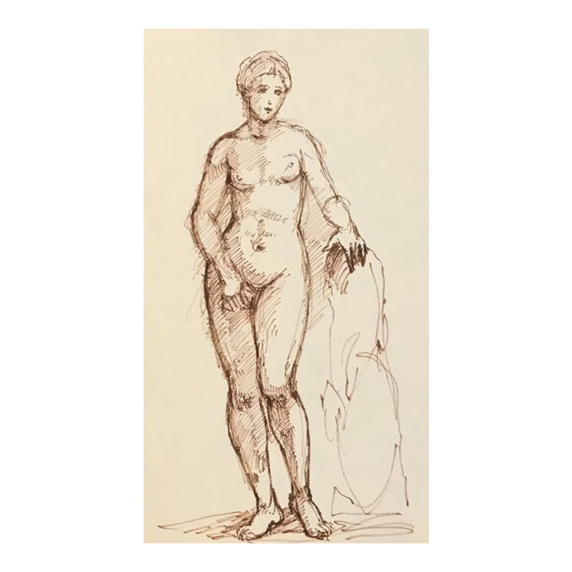 Drawing of Standing Mythological Female Nude For Sale