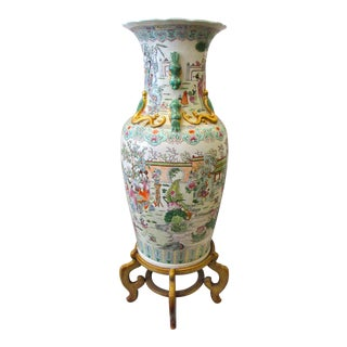 Large Chinese Rose Medallion Vase Urn on Stand