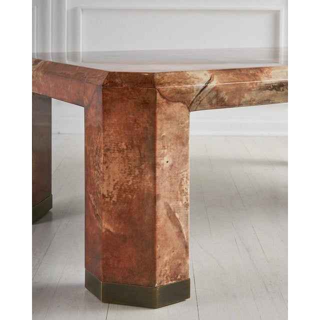Vintage Karl Springer-style lacquered goatskin table in gorgeous shades of rust and cream. Featuring beautiful texture and...