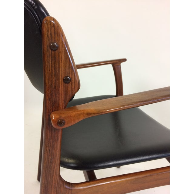 Mid-Century Modern Erik Buch Armchair in Rosewood, Inc. Reupholstery For Sale In Madison - Image 6 of 10