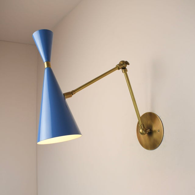 Mid-Century Modern 'Monolith' Italian Reading Lamp Brass & Bright Blue Enamel Blueprint Lighting For Sale - Image 3 of 4