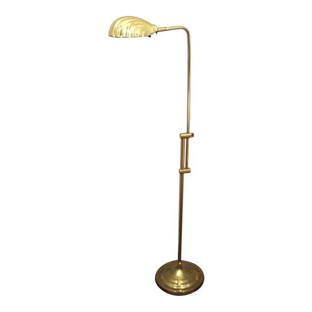 Mid-Century Modern Adjustable Gold Brass Clam Shell Floor Lamp Light - Image 1 of 10