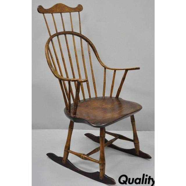 Antique Colonial Bow Back Windsor Oak & Pine Rocking Chair For Sale - Image  13 of - Antique Colonial Bow Back Windsor Oak & Pine Rocking Chair Chairish