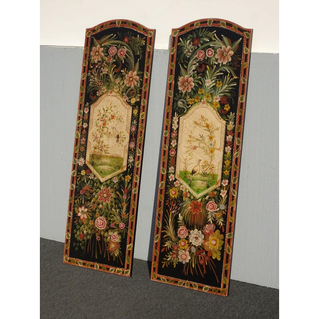 Vintage French Country Maitland Smith Style Wall Panels Floral Pictures For Sale - Image 4 of 12