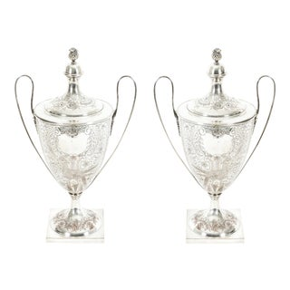 Old English Plated Trophy Cup / Covered Urns - a Pair For Sale