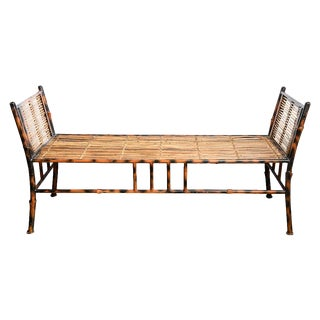 1970s Vintage Tortoise-Painted Iron and Bamboo Bench For Sale
