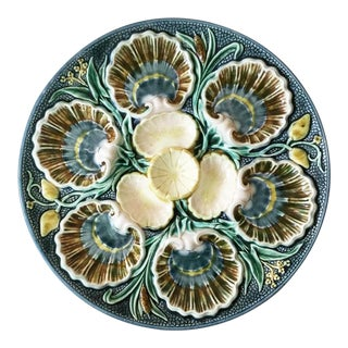 1880 Vintage Majolica Oyster Plate For Sale
