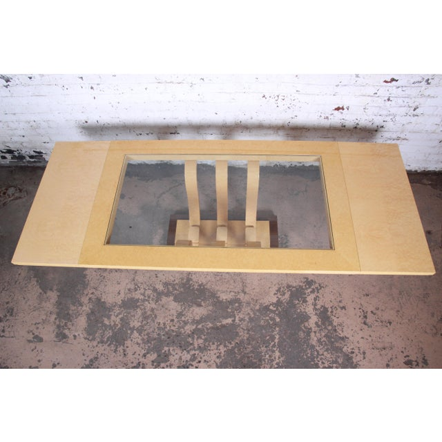 Italian Art Deco Birdseye Maple and Mahogany Pedestal Extension Dining Table For Sale In South Bend - Image 6 of 11