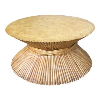 McGuire Mid Century Bamboo Wheat Sheaf Cocktail Table For Sale