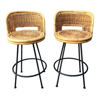 Mid Century Wicker Rattan Counter Height Bar Stools For Sale