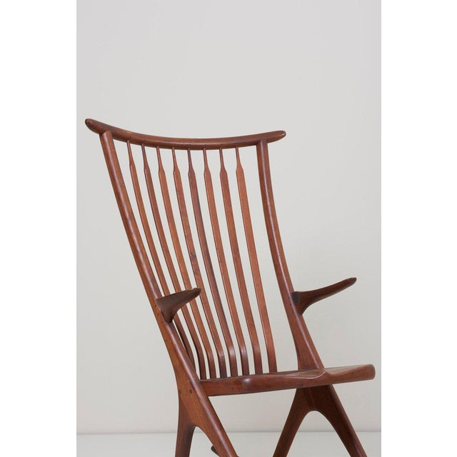 Custom, handmade studio rocking chair designed by Richard Harrison. This remarkable, lightweight and sculptural chair is...