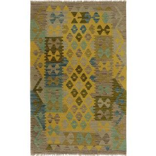 Kilim Arya Jaquelin Gray/Gold Wool Rug -2'8 X 4'2