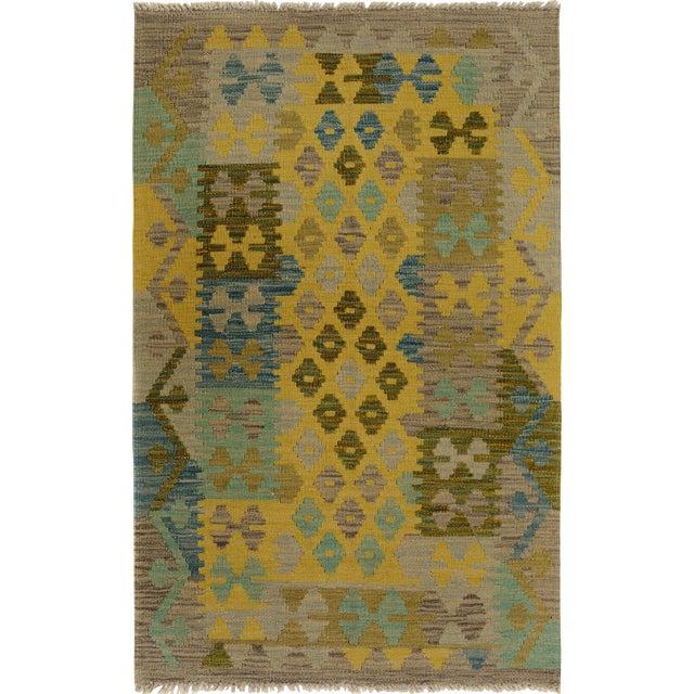 Kilim Arya Jaquelin Gray/Gold Wool Rug -2'8 X 4'2 For Sale