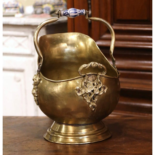 Mid-19th Century French Brass, Bronze and Porcelain Coal Bucket For Sale - Image 12 of 12