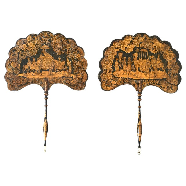19th C. English Pen-Work Decorated Fans - A Pair For Sale