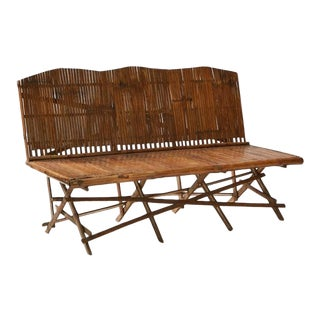 Asian Modern Bamboo Bench For Sale