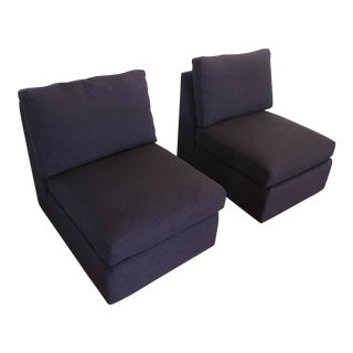 ABC Home Cobble Hill Purple Slipper Chairs- A Pair For Sale