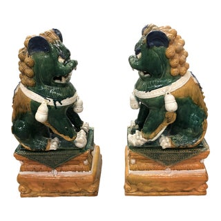 Gargantuan Vintage Chinese Foo Dog Statues - a Pair For Sale