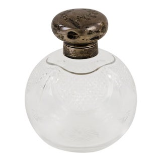 Antique William Hutton & Sons Sterling Lidded Cut Glass Perfume Bottle For Sale