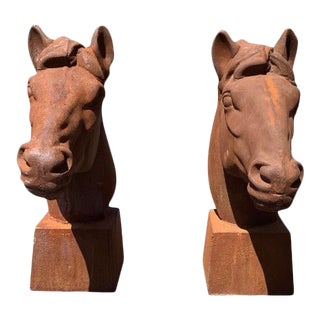 Cast Iron Garden Statue of a Horse Head - a Pair For Sale