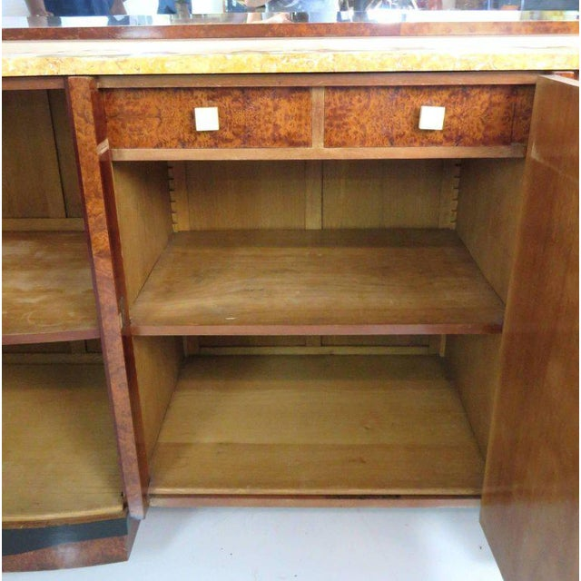Mid Century Modern Burl Walnut Inlaid Marble-Top Sideboard With Mirror For Sale - Image 4 of 11