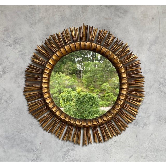 Spanish Spanish Giltwood Sunburst Mirror For Sale - Image 3 of 12