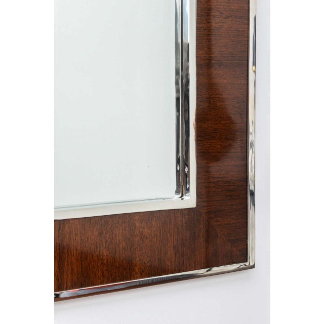Karl Springer Style Mirror with Polished Chrome and Mahogany Frame, 1980s - Image 2 of 10