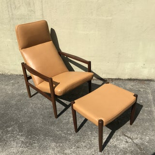 Swedish Lounge Chair & Ottoman With New Leather Upholstery Preview