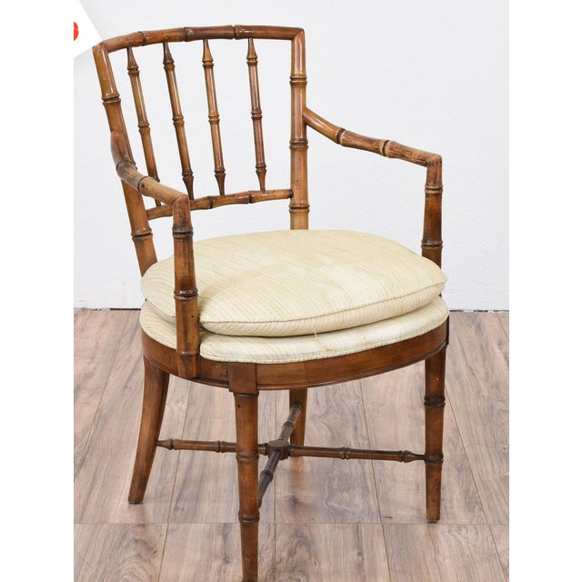 Drexel Faux Bamboo Chinoiserie Chippendale-Style Armchairs - Image 3 of 6