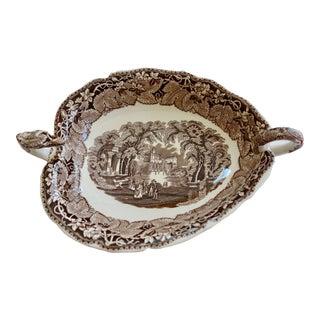 "Mason's Vintage 1940 Ironstone China Brown & White ""Vista"" Dragon Head Serving Dish For Sale"